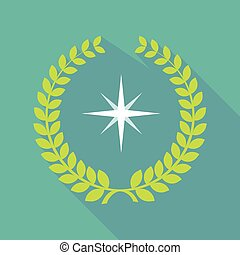 Long shadow laurel wreath icon with a sparkle