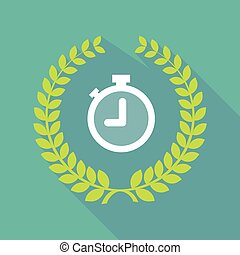 Long shadow laurel wreath icon with a timer