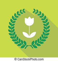 Long shadow laurel wreath icon with a tulip
