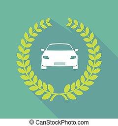 Long shadow laurel wreath icon with a car