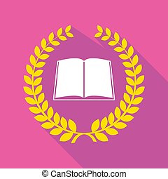 Long shadow laurel wreath with a book