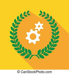 Long shadow laurel wreath with two gears