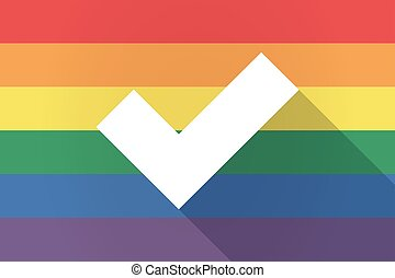Long shadow lgbt flag with a check mark - Illustration of a...