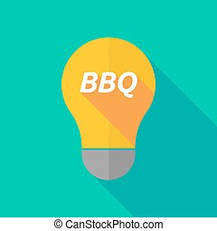 Long shadow light bulb icon with the text BBQ - Illustration...