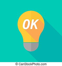 Long shadow light bulb icon with the text OK - Illustration...