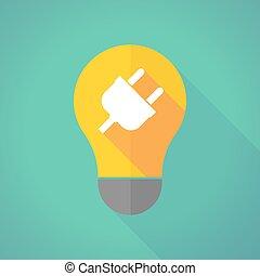 long shadow light bulb with a plug