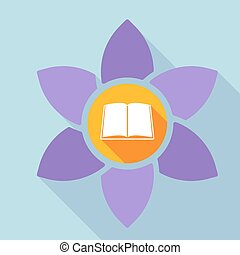 Long shadow loto flower with a book