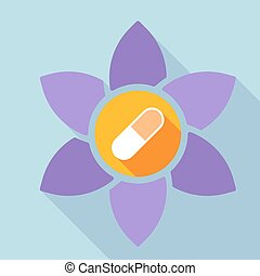 Long shadow loto flower with a pill
