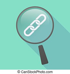 Long shadow magnifier icon with a chain