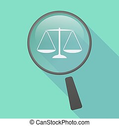 Long shadow magnifier icon with a justice weight scale sign