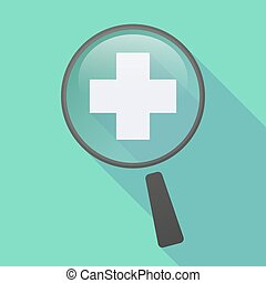 Long shadow magnifier icon with a pharmacy sign