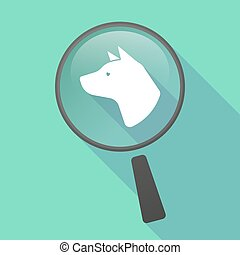 Long shadow magnifier vector icon with a dog head