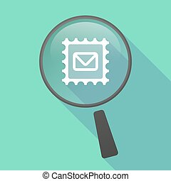 Long shadow magnifier vector icon with  a mail stamp sign