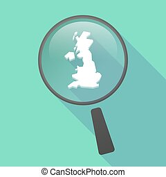 Long shadow magnifier vector icon with a map of the UK