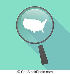 Long shadow magnifier vector icon with a map of the USA