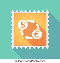 Long shadow mail stamp icon with a dollar euro exchange sign