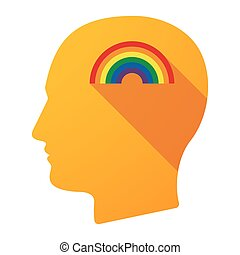 Long shadow male head icon with a rainbow