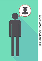 Long shadow male pictogram with  a female graduated student