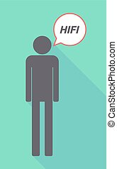 Long shadow male pictogram with the text HIFI - Illustration...