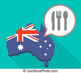 Long shadow map of Australia with cutlery