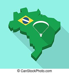 Long shadow map of Brazil with a paraglider