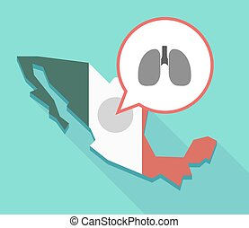Long shadow Mexico map with a healthy human lung icon