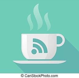 Long shadow mug with an RSS sign
