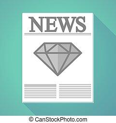 Long shadow  newspaper with a diamond