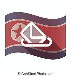 Long shadow North Korea flag with a ballot box