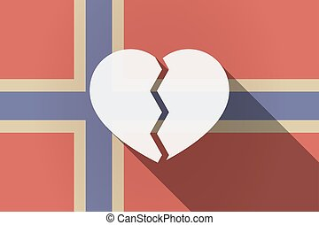 Long shadow Norway flag with a broken heart