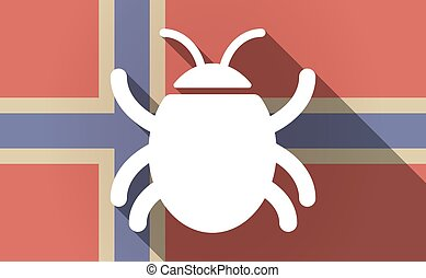 Long shadow Norway flag with a bug