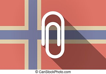 Long shadow Norway flag with a clip