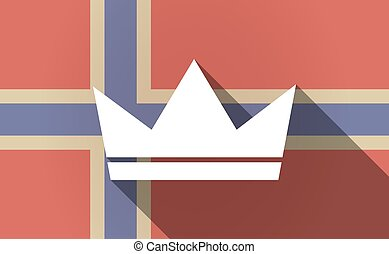 Long shadow Norway flag with a crown