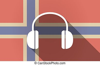 Long shadow Norway flag with a earphones