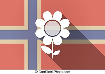 Long shadow Norway flag with a flower