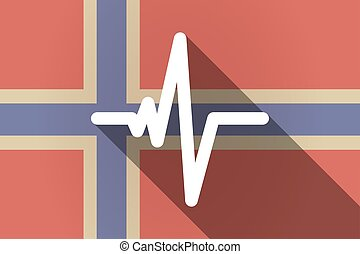 Long shadow Norway flag with a heart beat sign