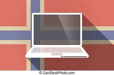 Long shadow Norway flag with a laptop