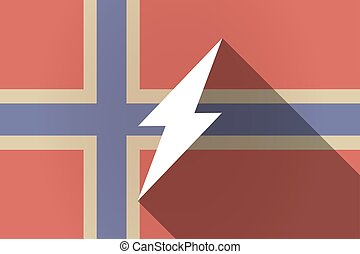 Long shadow Norway flag with a lightning