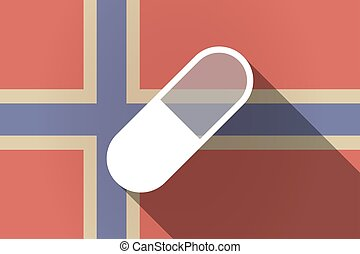 Long shadow Norway flag with a pill