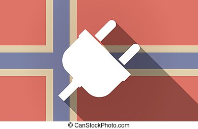 Long shadow Norway flag with a plug
