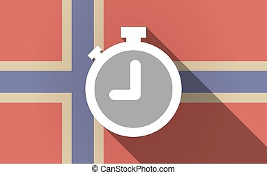 Long shadow Norway flag with a timer