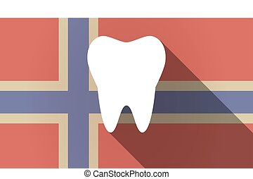 Long shadow Norway flag with a tooth