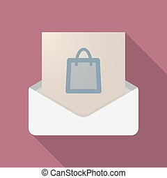 Long shadow opened letter with a shopping bag