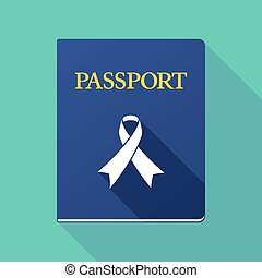 Long shadow passport with an awareness ribbon