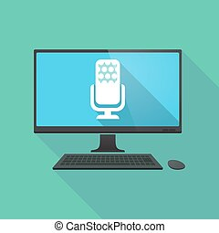 Illustration of a long shadow personal computer pc with a microphone sign