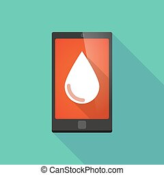 Long shadow phone icon with a blood drop