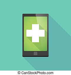 Long shadow phone icon with a pharmacy sign