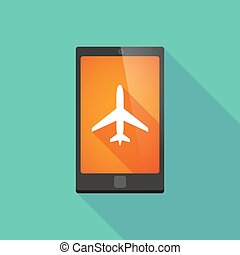 Long shadow phone icon with a plane