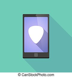 Long shadow phone icon with  a plectrum