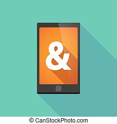 Long shadow phone icon with an ampersand